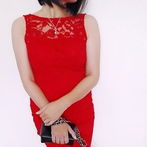 Adriana papell red lace dress